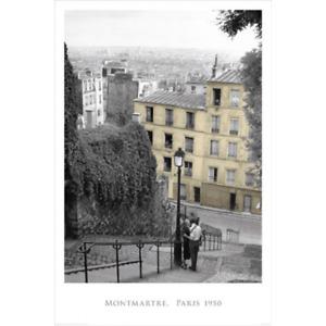 """PARIS 1950 - MONTMATRE STEPS POSTER - ROMANTIC COUPLE - 91 x 61 cm 36 x 24"""""""