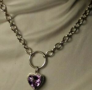"""GORGEOUS AMETHYST HEART PENDANT 18"""" STERLING NECKLACE CUSHION CUT HIGH FASHION"""