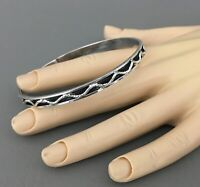 Vintage TAXCO-MEXICO .925 Sterling Silver Bangle Bracelet, Waivy Rope, 13.55g