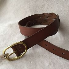 Fossil Brown Leather Ladies Gold Buckle Belt Large