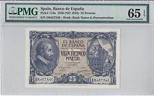 Spain, 1940(ND 1943) 25 Pesetas P116a PMG 65 EPQ  ((only 1 finer))