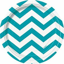 "8 Caribbean Teal Blue White Chevron ZigZag Birthday Party Small 7"" Paper Plates"