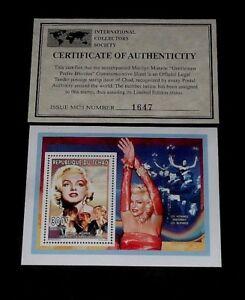 1996, CHAD, MARILYN MONROE, LIMITED EDITION, 300f SOUVENIR SHEET, W/COA
