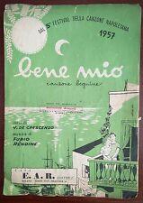 Spartito Musicale Bene Mio 5° Festival di Napoli 1957 De Crescenzo Furio Rendine