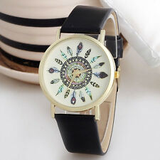 Band Quartz Unique Wrist Watch Women Vintage Feather Analog Watches Dial Leather