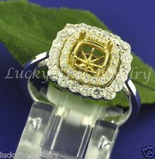 0.86 ct SEMI MOUNT DIAMOND RING white & yellow gold 18k setting  fits 6mm-6.5