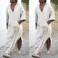 Men's Abaya Full Length Robe Short Sleeve Longline Islamic Arab Kaftan T-Shirt