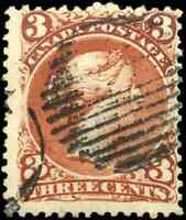 Canada #25 used F 1868 Queen Victoria 3c red Large Queen coloured Target cancel