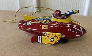 Vintage 1997 SCHYLLING Restoration Hardware Rocket Fighter Tin Toy Ornament