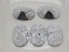 200 Silver Flatback Acrylic Glitter Bows Rivoli Oval Cabochons 9X13mm