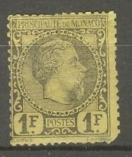 "MONACO STAMP TIMBRE N°9 ""PRINCE CHARLES III 1F NOIR SUR JAUNE 1885""NEUF x A VOIR"