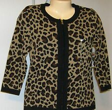 Jones New York Petite Jacket  PL  Brown Animal Print