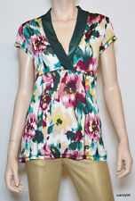 Nwt $140 BCBG MAXAZRIA Stretch Blouse Top Shirt Tunic ~Multi/Soft Focus *M