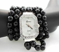 Womens Black Silver Tone Wrap Around Fashion Geneva Quartz Wrist Watch