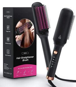 Ceramic Hair Straightener Brush, Hot Comb, Fast Heating & 5 Level Temperature
