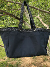 Hot! Thirty-One Soft Utility Tote Beach Bag in Navy Blue dancing dot Travel bag