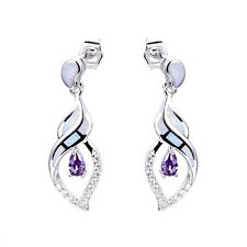 Angel Wing White Fire Opal Amethyst Drop CZ Hollow Silver Plated Dangle Earrings
