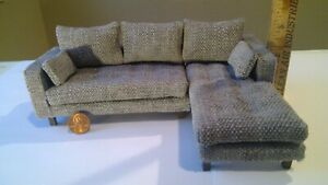 Dollhouse miniature couch sectional handmade