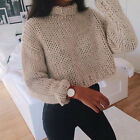 Women Casual Long Sleeve Knitted Pullover Loose Sweater Jumper Crop Top Knitwear