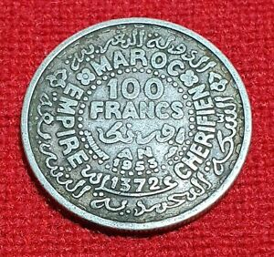 Morocco 100 Francs Mohammed V 1953 AD 1372 AH Excellent Silver Islamic Coin