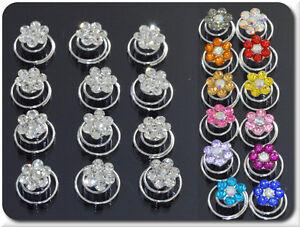 Set 10 Curlies Haarspiralen Blumen Strass 16 Farben Braut Kommunion Hochzeit