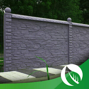 Betonzaun Sichtschutzzaun Gartenzaun Zaun einseitige Struktur Steinoptik 2m