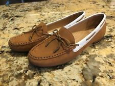 Sebago Women's Mocassin Shoes Flats Loafers Slip On Brown Tan Leather 7 EUC