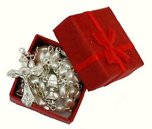Beautiful White Heart Rosary Beads In Red Gift Box - Perfect First Xmas Baptism