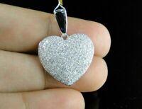 1.5 Ct Round Sim Diamond Womens Heart Pendant Necklace 14k Yellow Gold Plated
