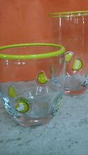 Glassware Tumbler Set (2) Blown Glass Drinkware Vibrant Lemons Clear Glass