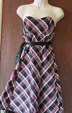 Jane Norman fully lined check strapless dress size 12