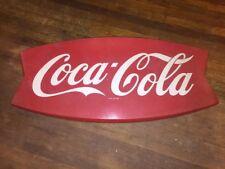 """Vintage Original Coca Cola Fishtail Sign 42"""" x 20"""" AM 12"""