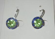 Blue Green Crystal Earrings Silver Tone Mini Leverback New Pierced