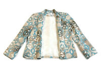 Alfred Dunner Women's Jacket Blazer Zip-Close Pockets Teal Brown Print Size 12