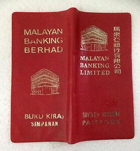 MALAYAN BANKING BERHAD RARE VINTAGE SAVINGS ACCOUNT PASSBOOK PLASTIC COVER