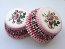 Pink Rose Cupcake Liners Baking Cups 50 Standard Size Black White Green