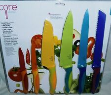 CORE KITCHEN  Set of 6 Knives and Sheaths Assortment of Fun And Bright Colors