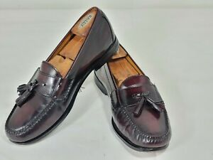 Cole Haan Mens Size 10.5 M Brown Leather Slip On Loafers Tassel Shoes Burgundy