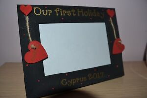 Personalised OUR FIRST HOLIDAY - family, couples handmade pine photo frame
