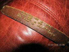 Distressed Brown Leather Wristband Handmade Abstract Braille-like Design 8.5