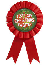 Best Ugly Christmas Sweater First Place Award Ribbon Button