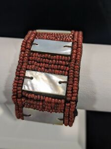 Artisan Red Glass Bead Abalone Panel Woven Bracelet 7.75 Inches Tribal Boho