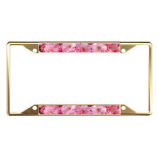 Cherry Blossom Flower Full Color Metal License Plate Frame Tag Border