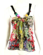 ETRO Multi-Color Floral Watercolor Silk Layered Large Bead Top 46