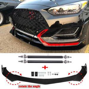 For Hyundai Veloster Elantra Front Bumper Lip Splitter Spoiler + Strut Rods Bar