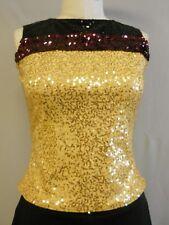 GOLD+BLACK ZSA ZSA SEQUINED DANCE COSTUME TOP--SAMPLE SIZE M-MEDIUM