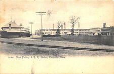 Campello MA  Shoe Factory & Railroad Station Train Depot Postcard