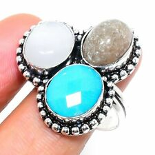 Aqua Chalcedony, Moonstone Gemstone Handmade Gift Jewelry Ring Size 9 v834