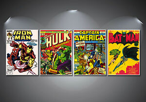 Vintage Marvel Comic Covers Poster Set - A4-A3-A2 Sized Sets of 4
