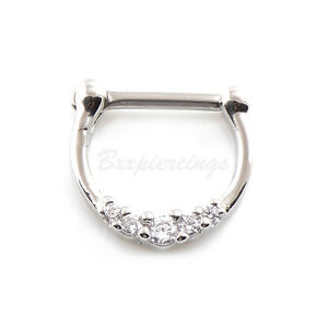 """1pc 16G 5/16"""" (8mm) Plated on Brass 5 CZ Clear Gems Septum Clicker Nose Ring"""
